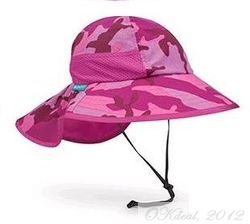 KIDS' PLAY SUN  HAT (UPF 50+) -Pink/Camo(Sunday Afternoons)